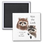 Funny Quote Kiss the Cook Cute Raccoons, Animal 2 Inch Square Magnet
