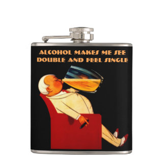 Funny quote,see double,feel single flask