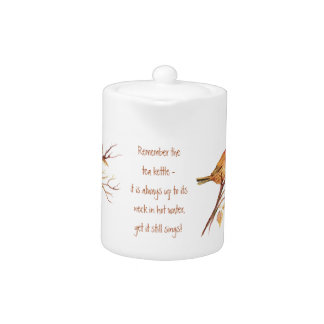 Funny Quote Tea & Watercolor Sparrow, Little Birds Teapot