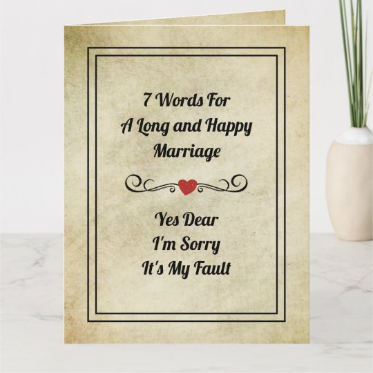 Funny Quotes 7 Words FOR a Long Marriage Card