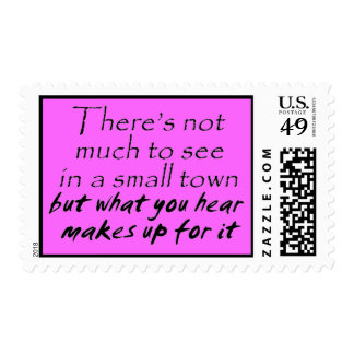 Funny quotes pink stamps small town joke humor