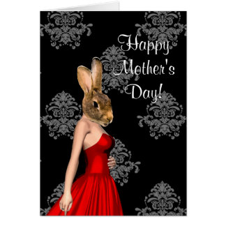 Funny rabbit character mothers day card