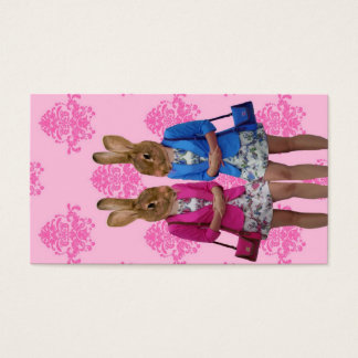 Funny rabbit girls going shopping business card