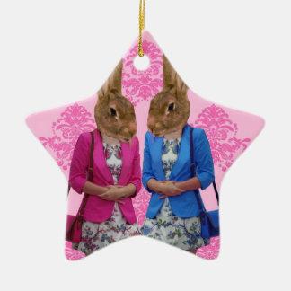 Funny rabbit girls going shopping ceramic ornament