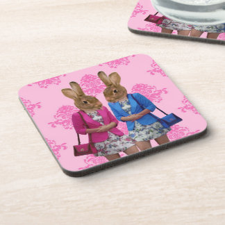 Funny rabbit girls going shopping coaster