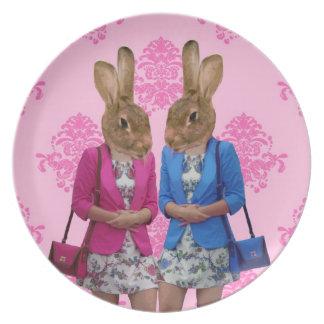 Funny rabbit girls going shopping dinner plate