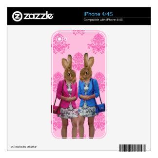 Funny rabbit girls going shopping iPhone 4 skins