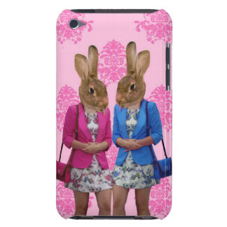 Funny rabbit girls going shopping iPod touch case
