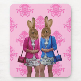 Funny rabbit girls going shopping mouse pad