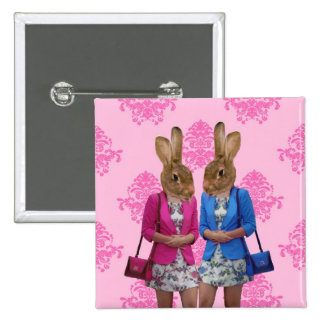Funny rabbit girls going shopping pinback button