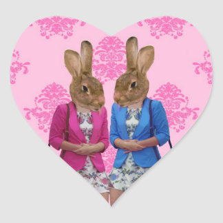 Funny rabbit girls going shopping stickers