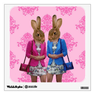 Funny rabbit girls going shopping wall decal