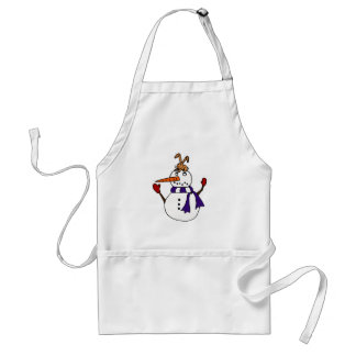 Funny Rabbit on Snowman Reaching for Carrot Adult Apron