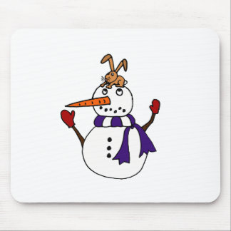 Funny Rabbit on Snowman Reaching for Carrot Mouse Pad