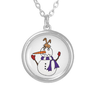 Funny Rabbit on Snowman Reaching for Carrot Round Pendant Necklace