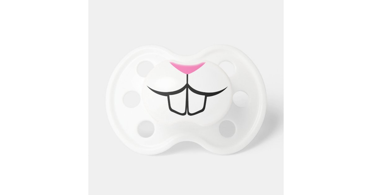 Funny rabbit teeth and nose baby pacifier   Zazzle
