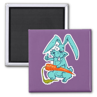 funny rabbit with carrot sweet cartoon magnet