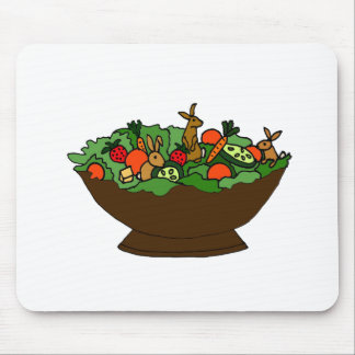 Funny Rabbits in a Salad Art Mouse Pad
