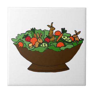 Funny Rabbits in a Salad Art Ceramic Tiles