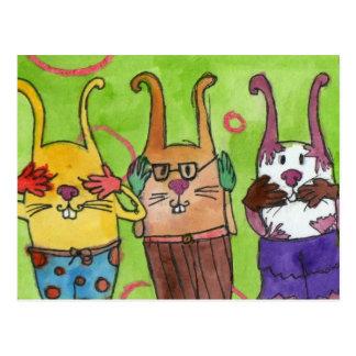 Funny rabbits postcard