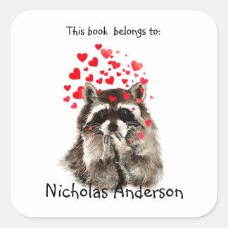 Funny Raccoon Animal blowing kisses Bookplate art