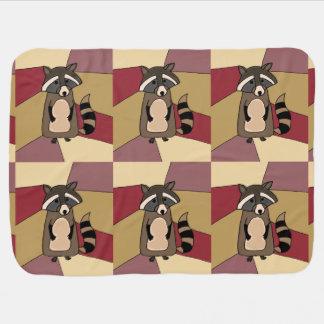 Funny Raccoon Art Design Receiving Blanket