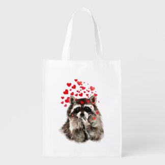 Funny Raccoon Blowing kisses & Love Hearts Reusable Grocery Bag