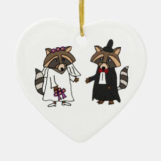 Funny Raccoon Bride and Groom Wedding Art Ceramic Ornament