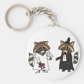 Funny Raccoon Bride and Groom Wedding Art Keychain
