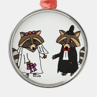 Funny Raccoon Bride and Groom Wedding Art Metal Ornament