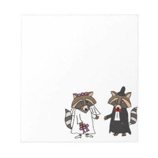 Funny Raccoon Bride and Groom Wedding Art Notepad