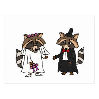 Funny Raccoon Bride and Groom Wedding Art Postcard