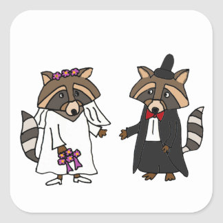 Funny Raccoon Bride and Groom Wedding Art Square Sticker