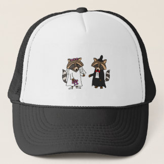 Funny Raccoon Bride and Groom Wedding Art Trucker Hat
