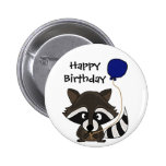 Funny Raccoon Holding Balloon Button