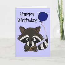 Funny Raccoon Holding Balloon Card