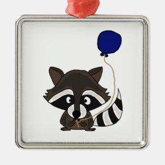 Funny Raccoon Holding Balloon Metal Ornament
