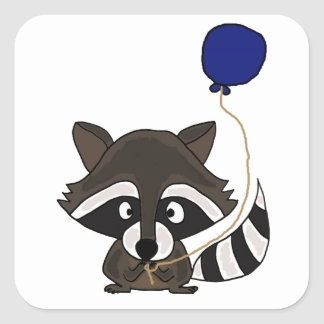 Funny Raccoon Holding Balloon Square Sticker