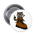 Funny Raccoon in Hiking Boot Pinback Buttons