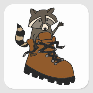 Funny Raccoon in Hiking Boot Square Sticker