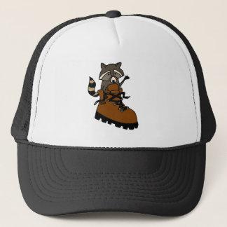 Funny Raccoon in Hiking Boot Trucker Hat