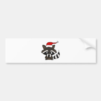 Funny Raccoon in Santa Hat Christmas Art Bumper Sticker