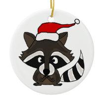 Funny Raccoon in Santa Hat Christmas Art Ceramic Ornament
