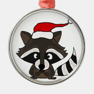 Funny Raccoon in Santa Hat Christmas Art Metal Ornament