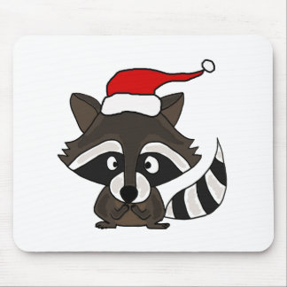Funny Raccoon in Santa Hat Christmas Art Mouse Pad