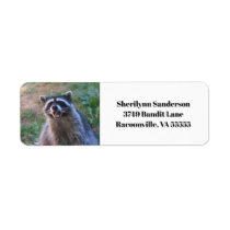 Funny Raccoon Photograph Label