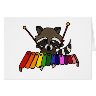 Funny Raccoon Playing Colorful Xylophone Card