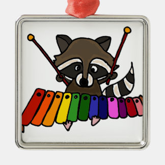 Funny Raccoon Playing Colorful Xylophone Metal Ornament