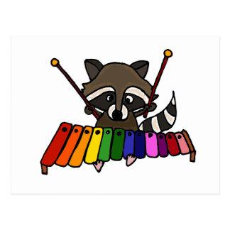 Funny Raccoon Playing Colorful Xylophone Postcard