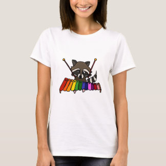 Funny Raccoon Playing Colorful Xylophone T-Shirt